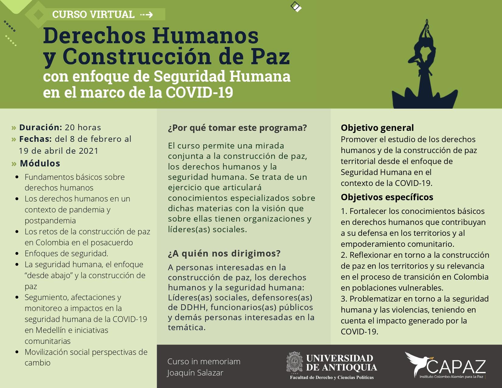 Curso Virtual: Derechos Humanos y construcción de paz con enfoque de seguridad humana en el marco del Covid - 19